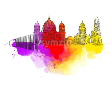 Berlin Germany Colorful Landmark Banner Stock Vector