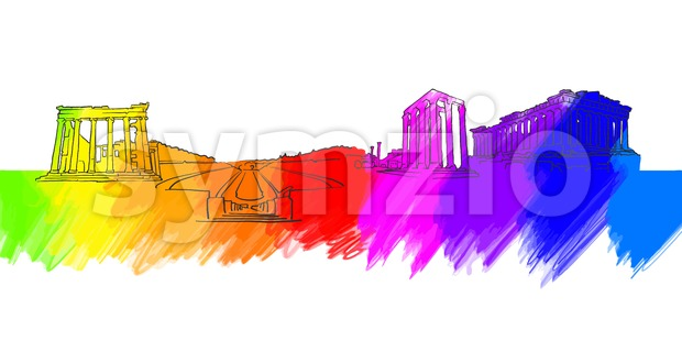 Athens Greece Colorful Landmark Banner Stock Vector