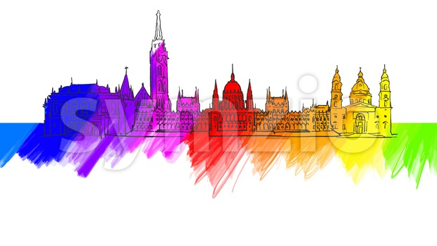 Budapest Colorful Landmark Banner. Beautiful hand drawn vector sketch. Travel illustration for social media marketing and print advertising.