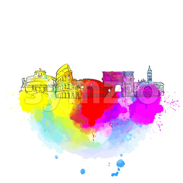 Rome Colorful Landmark Banner Stock Vector