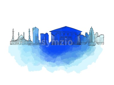 Astana Colorful Landmark Banner Stock Vector