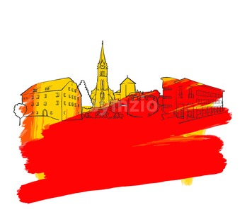Vaduz Colorful Landmark Banner Stock Vector