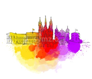 Vilnius Colorful Landmark Banner Stock Vector