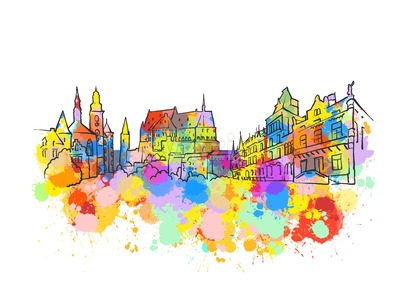 Luxembourg Colorful Landmark Banner Stock Vector