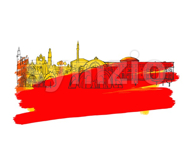 Skopje Colorful Landmark Banner Stock Vector