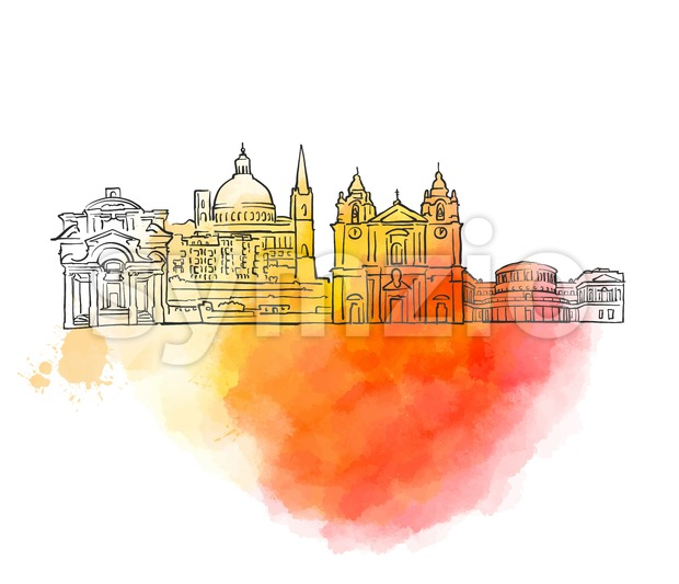 Valletta Colorful Landmark Banner Stock Vector