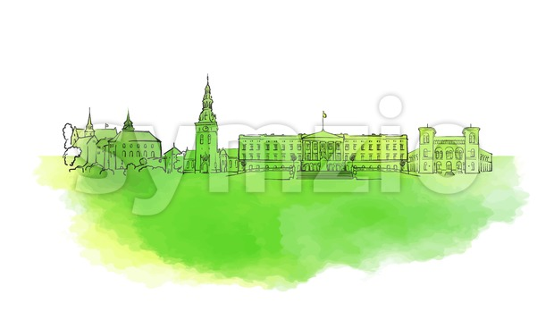 Oslo Colorful Landmark Banner Stock Vector