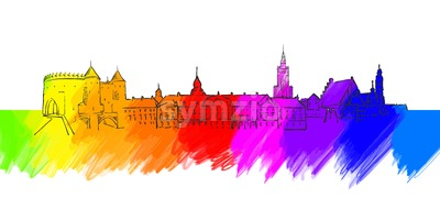 Warsaw Colorful Landmark Banner Stock Vector