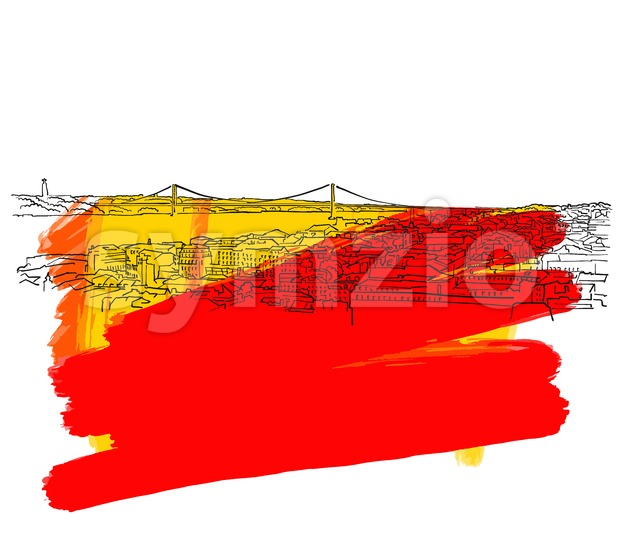 Lisbon Colorful Skyline Banner Stock Vector