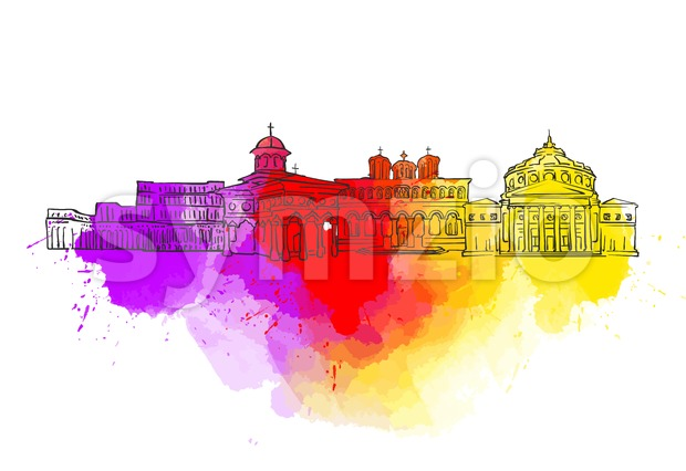 Bucharest Colorful Landmark Banner Stock Vector