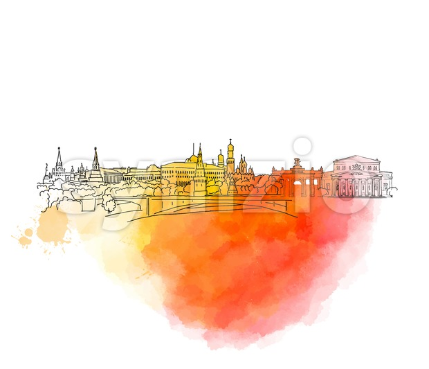 Moscow Colorful Landmark Banner Stock Vector