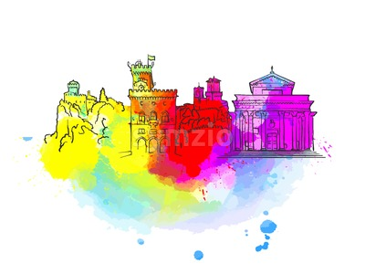 San Marino Colorful Landmark Banner Stock Vector
