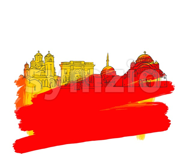 Belgrade Colorful Landmark Banner Stock Vector