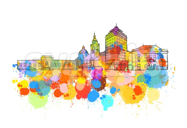 Ljubljana Colorful Landmark Banner Stock Vector