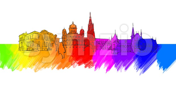 Bern Colorful Landmark Banner Stock Vector