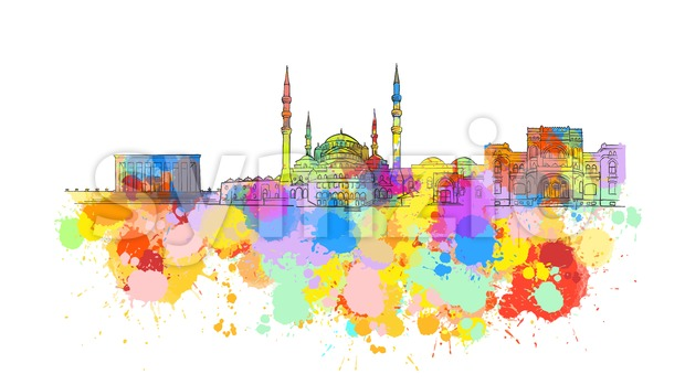 Ankara Colorful Landmark Banner Stock Vector