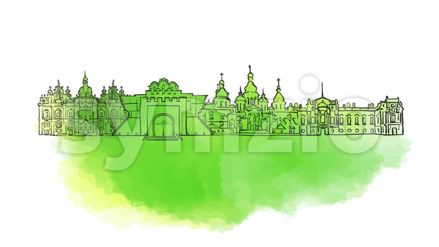 Kyiv Colorful Landmark Banner Stock Vector