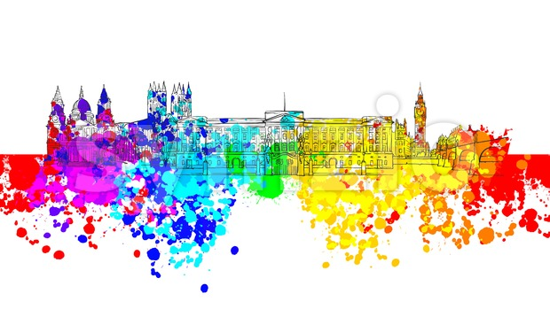 London Colorful Landmark Banner. Beautiful hand drawn vector sketch. Travel illustration for social media marketing and print advertising.