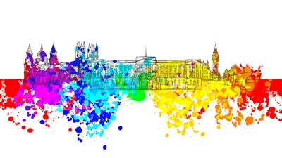 London Colorful Landmark Banner Stock Vector