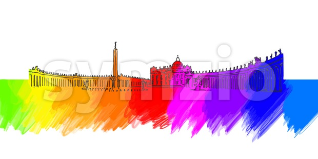 Vatican St Peter Place Banner Stock Vector