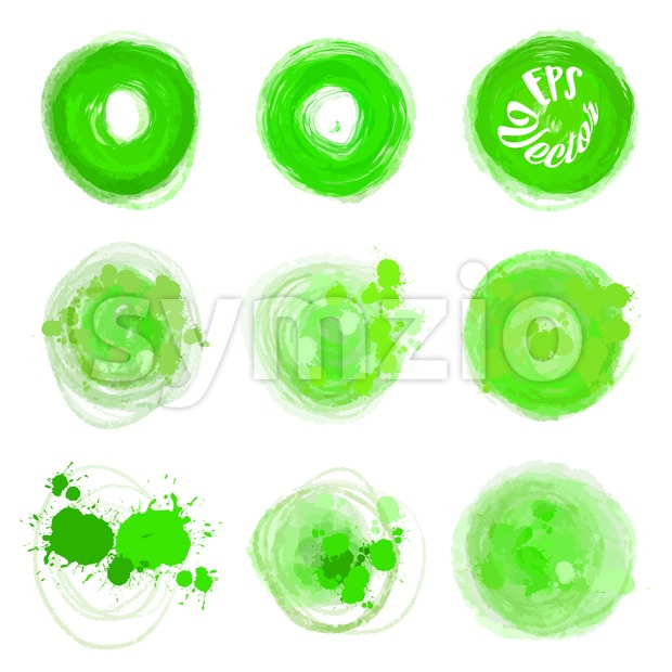 Green vector circle brush strokes Stock Vector