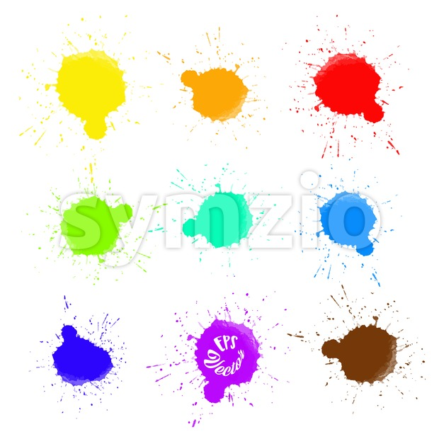 Set of Abstract Splashes of Colors. Beautiful hand drawn vector sketch. Colorful elements for social media and print decoration.