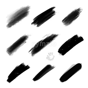 Set of Abstract Painted Strokes Stock Vector
