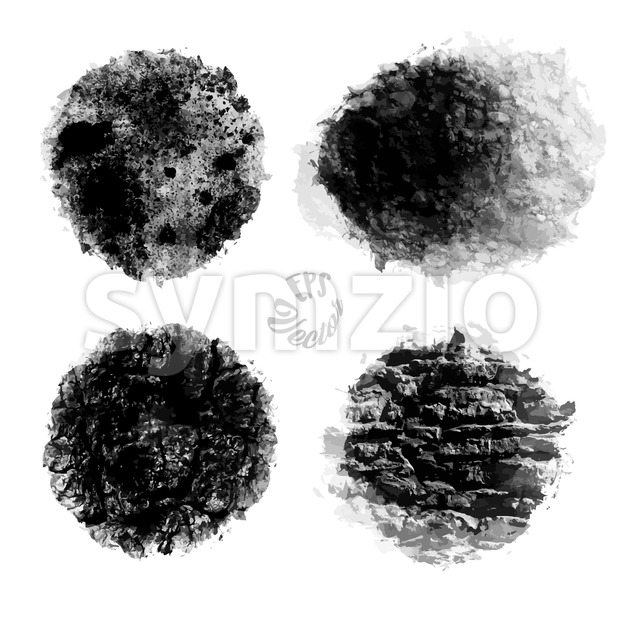 Set of Wall Pattern, Black Painted Stock Vector