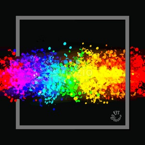 Colorful drops in rainbow colors with frame Stock Vector