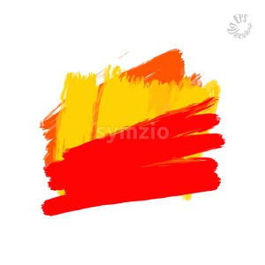 red paint stroke with yellow on white Stock Vector