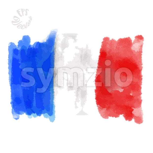 Flag of France painted Strokes Stock Vector