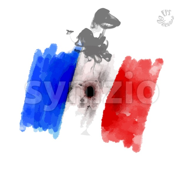 Flag of France with shooting hole Stock Vector