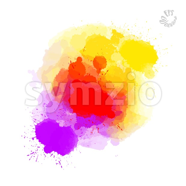 Abstract painted drops, red yellow and violet Stock Vector