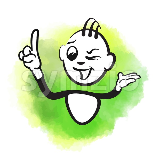 Vector stick man of happy male wink Stock Vector