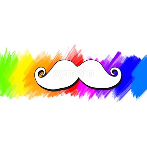 Vector mustache painted colorful background Stock Vector