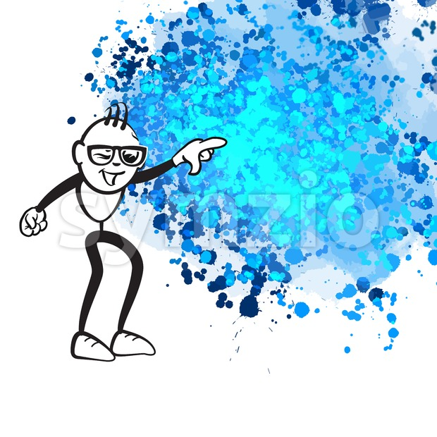 Stick figure pointing chaos Stock Vector