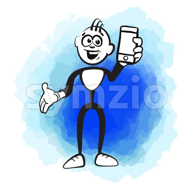 Stick figure and mobile phone Stock Vector