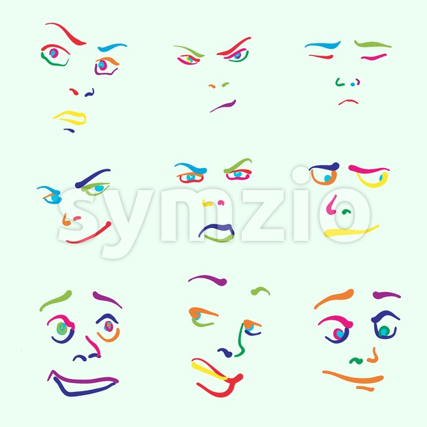Various colorful drawn faces Stock Vector