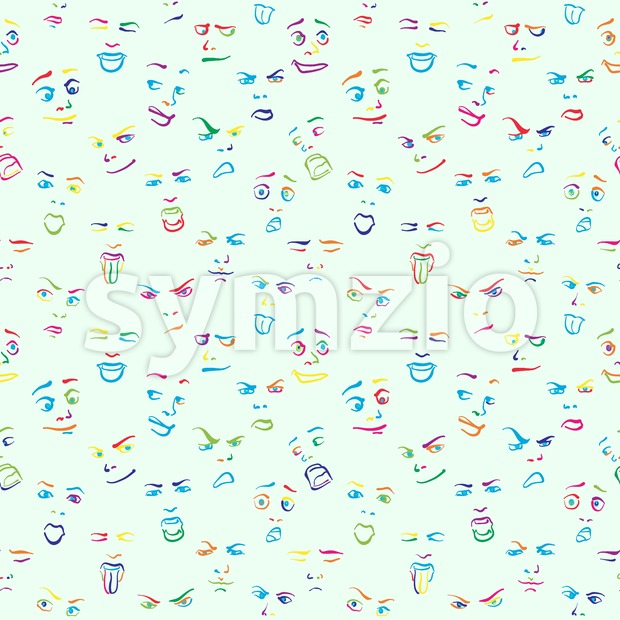 Colorful doodle drawn faces Stock Vector