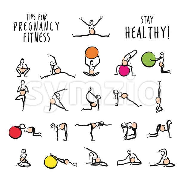 Set of pregnant yoga fitness doodles. Hand-drawn stickman icons for digital marketing and wall-art print.