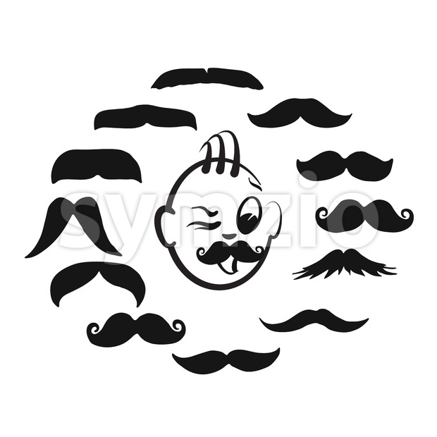 Set of barber shop mustache icons Stock Vector