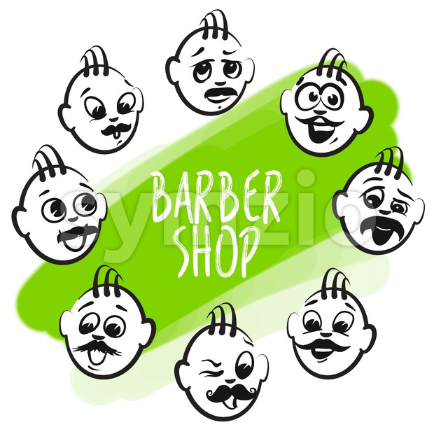 Set of barber shop faces. Emotional business icons for digital marketing and print. Stickman series.