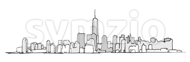 New York City Skyline Drawing. Vector Concept Illustration for Banner infographic and marketing.