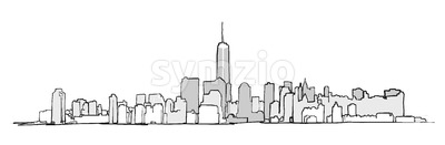 New York City Skyline Drawing Stock Vector