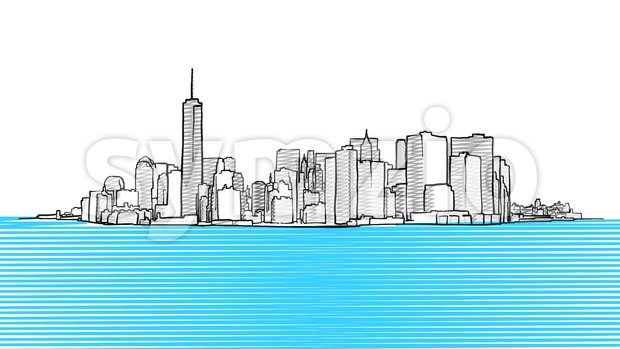 New York City Skyline seen from New Yersey Stock Vector