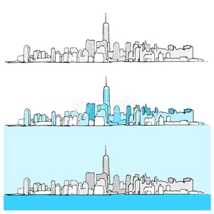 Three Versions of New York City Skyline Stock Vector