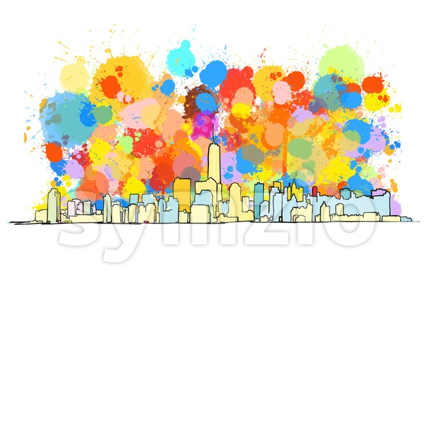 Colorful Skyline of New York City Stock Vector