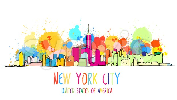 Colorful New York City Skyline Drawing. Stock Vector