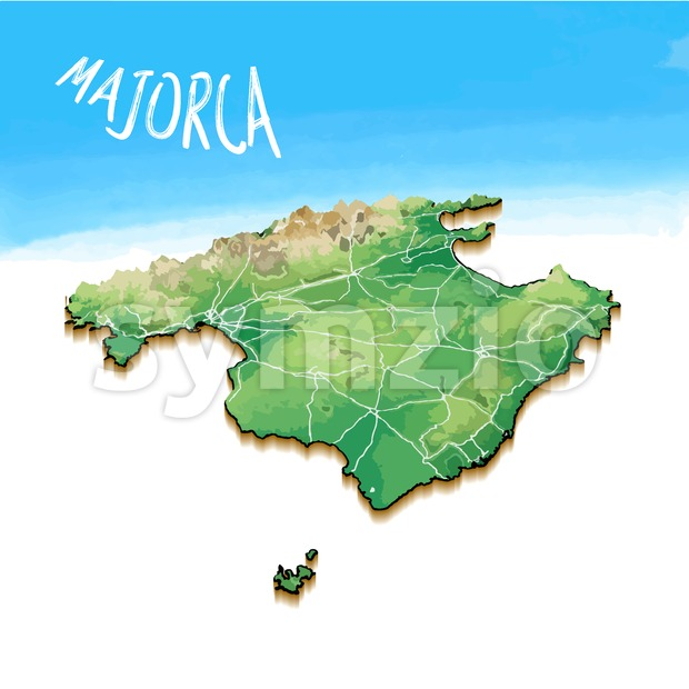 3D Island Map of Majorca Stock Vector