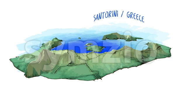 3D Island Map of Santorini Stock Vector